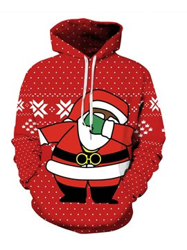Santa Swag Rap Style Christmas Long Sleeve 3D Pattern Hoodie