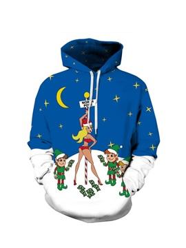 Santa Sexy Lady Christmas Long Sleeve 3D Pattern Hoodie