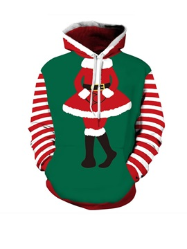 Dress Santa Christmas Long Sleeve 3D Pattern Hoodie