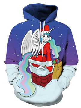 Long Sleeve Santa with Wing Christmas Pattern 3D Painted Hoodie