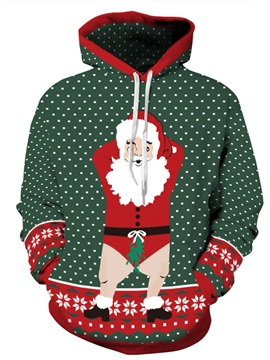 Santa Claus Funny Christmas Long Sleeve 3D Pattern Hoodie