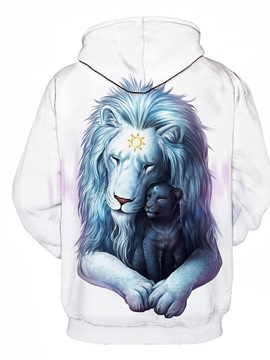 White Blue Lion Long Sleeve 3D Pattern Hoodie