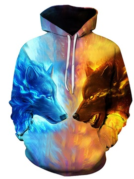 Fire Wolf Fight 3D Pattern Color Block Long Sleeve Cool Hoodies