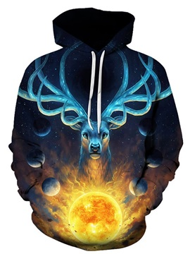 Blue Deer with Sun Long Sleeve 3D Pattern Hoodie