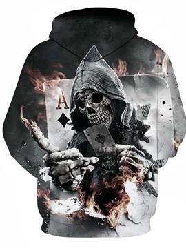 Skull Fire with Poker Long Sleeve 3D Pattern Hoodie