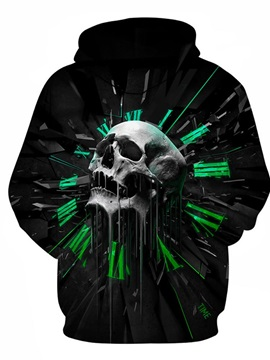 Skull Number Clock Long Sleeve 3D Pattern Hoodie