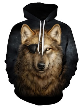 Long Sleeve Wolf with One Eye Pattern 3D Painted Hoodie