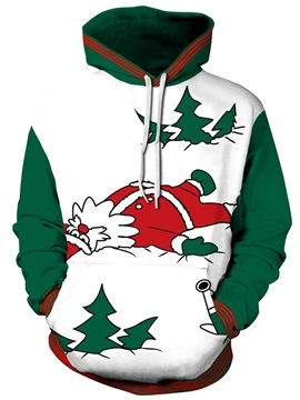 Long Sleeve Christmas Santa Lying Pattern 3D Painted Hoodie