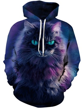 Long Sleeve Horror Cat Smile Galaxy Pattern 3D Painted Hoodie
