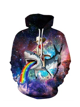 Cat with Shark Rainbow Long Sleeve 3D Pattern Hoodie