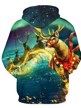 Christmas Fantasy Deer Pattern Long Sleeve 3D Pattern Hoodie