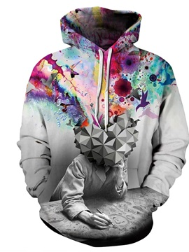 Colorful Thinker Long Sleeve 3D Pattern Hoodie