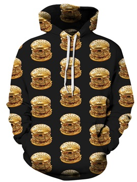 Long Sleeve Delicious Hamburgers Pattern 3D Painted Hoodie