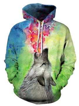 3D Wolf Roar Pattern Men Sweater Long Sleeve Cool Hoodies