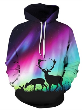 Long Sleeve Aurora Deer Pattern 3D Painted Hoodie