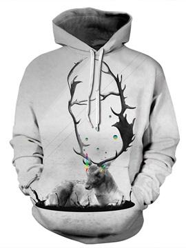 3D Grey Deer Colorful Tear Pattern Men Sweater Long Sleeve Cool Hoodies