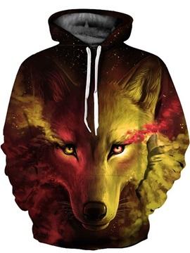 Red Green Wolf Tear 3D Pattern Sweater Long Sleeve Cool Hoodies