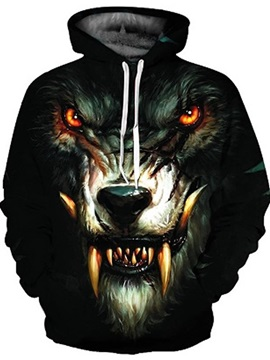 Long Sleeve Ferocious Wolf Face Digital Pattern 3D Painted Hoodie