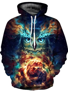 Long Sleeve Fantasy Owl with Cloud Storm Pattern 3D Painted Hoodie
