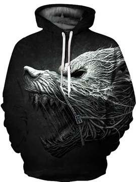 Horror Monster Roar 3D Pattern Men Sweater Long Sleeve Cool Hoodies