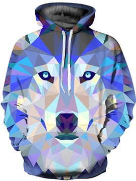 Long Sleeve Geometric Rhombus Wolf Pattern 3D Painted Hoodie
