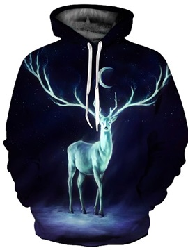 Cool Long Sleeve Deer Long Antlers Pattern 3D Painted Hoodie