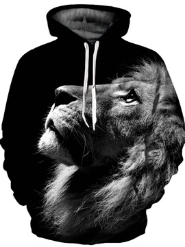 3D Lion Look up Pattern Men Sweater Long Sleeve Cool Hoodies