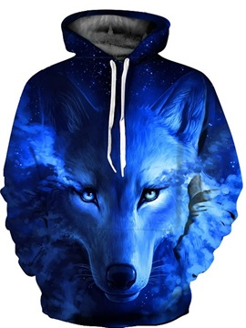 3D Blue Wolf Tear Pattern Men Sweater Long Sleeve Cool Hoodies