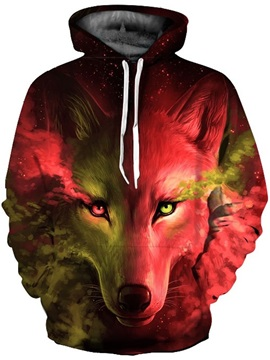 Cool Long Sleeve Red Green Wolf Tear Pattern 3D Painted Hoodies