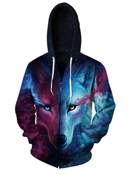 3D Blue Wolf with Tear Pattern Men Sweater Long Sleeve Zipper Cool Hoodies