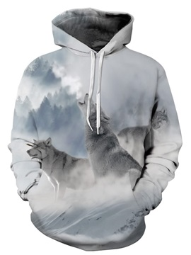 Long Sleeve Wolves Snow Mountain Pattern 3D Painted Hoodie