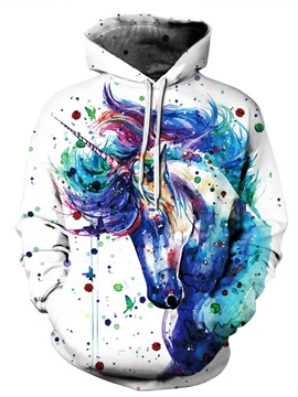 3D Unicorn Oil Painting Pattern Men Sweater Long Sleeve Cool Hoodies