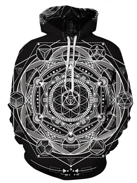 3D Structural Pattern Men Sweater Long Sleeve Cool Hoodies