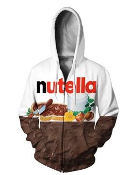 3D Nutella Pattern Men Sweater Zipper Long Sleeve Cool Hoodies