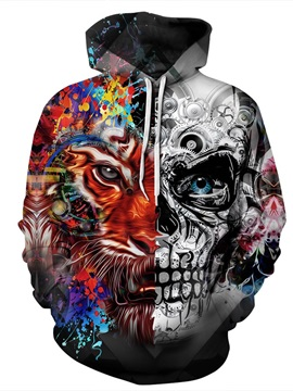 3D Tiger Skull Face Men Sweater Long Sleeve Cool Hoodies