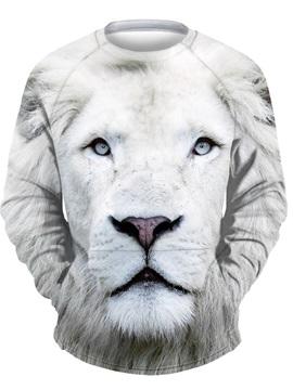 3D White Lion Men Sweater Round Neck Cool Hoodies