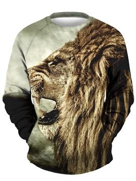 3D Lion Roar Face Men Sweater Round Neck Cool Hoodies