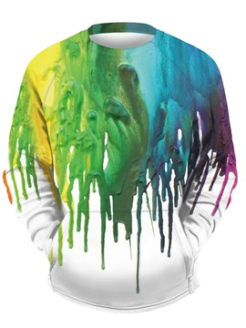3D Colorful Painting Men Sweater Round Neck Cool Hoodies White
