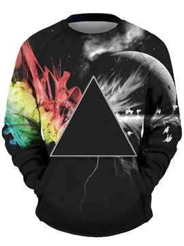 3D Triangle Men Sweater Round Neck Cool Hoodies Black
