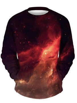 3D Red Galaxy Men Sweater Round Neck Cool Hoodies