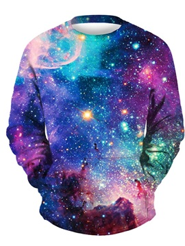 3D Galaxy Sky Men Sweater Round Neck Cool Hoodies