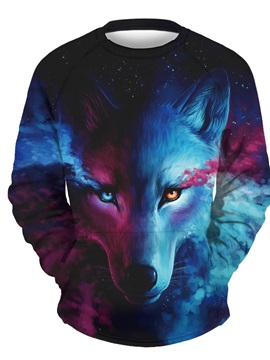 3D Wolf with Tear Men Sweater Round Neck Cool Hoodies