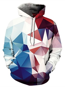 Long Sleeve Red and Blue Mingling Prism Pattern Pocket 3D Painted Hoodie