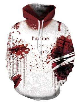 Unique Long Sleeve Bloodiness Pattern 3D Painted Hoodie
