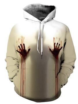 Long Sleeve Bloody Hand Pattern 3D Painted Hoodie