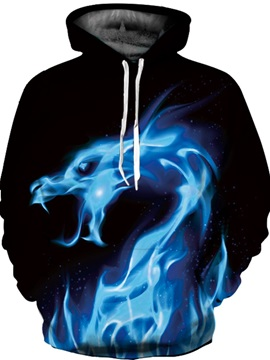 Black Long Sleeve Blue Dragon Pattern 3D Painted Hoodie