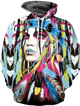 Colorful Long Sleeve Beautiful Tribe Girl 3D Painted Hoodie