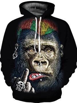 Unisex Evil Gorilla Pullover Digital Kangaroo Pocket 3D Painted Hoodie