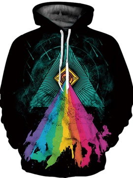 Realistic Rainbow Triangle Printed Athletic Unisex 3D Painted Hoodie