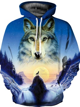 Special Long Sleeve Fullmoon Wolf Pattern Front Pocket 3D Painted Hoodie